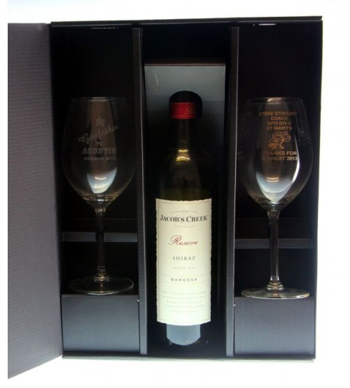 Two Wine Glass With Bottle Gift Box 2wg B