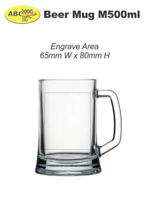 Beer Mug M500ml Engrave Area Template