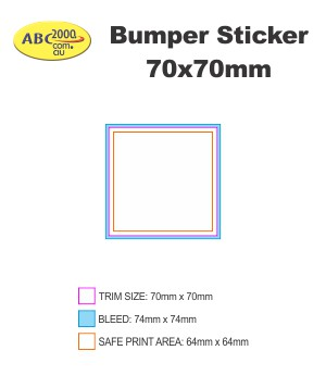 70x70mm Bumper Sticker Template